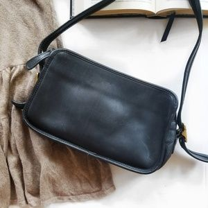 Vintage Coach 1970's Black Leather Crossbody Bag